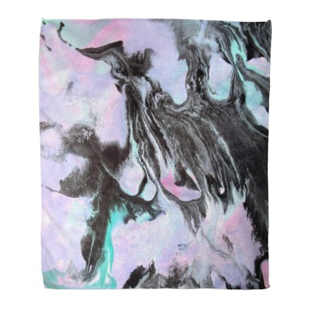 KDAGR Throw Blanket Warm Cozy Print Flannel Abstract Marbling Effect with Cold Green Pale Pink and Black Colors Pearl Drops Comfortable Soft for Bed Sofa and Couch 50x60 (Warm And Cozy Ep 1 Eng Sub)