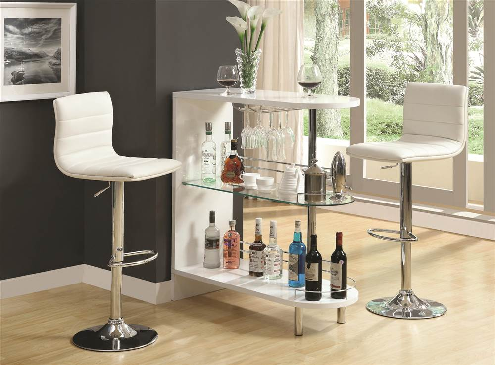 Modern Bar Unit Shelf Wine Glass White Chrome Mini Pub Furniture Liquor  Cabinet