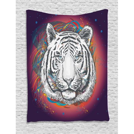 Animal Tapestry, Wildlife Theme Modern Image of a White Tiger Lion Head From Outer Space, Wall Hanging for Bedroom Living Room Dorm Decor, Brown White and Black, by - Animal Theme