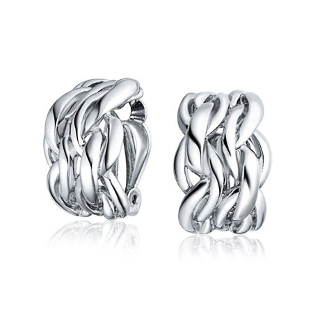 Twisted Cable Chain Weave Wide Half Hoop Clip On Earrings For Women Non Pierced Ears Silver Plated Brass