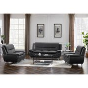 Sofa Sets for Living Room, 3 Pieces Mid-century PU Leather Sofa Set, Grey