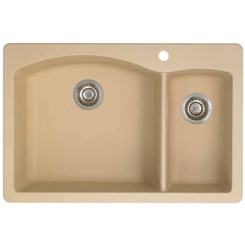 """Blanco 441464 Diamond 22"""" X 33"""" Double-Basin Granite Drop-In Or Undermount 1-Hole Residential Kitchen Sink, Available in Various Colors"""