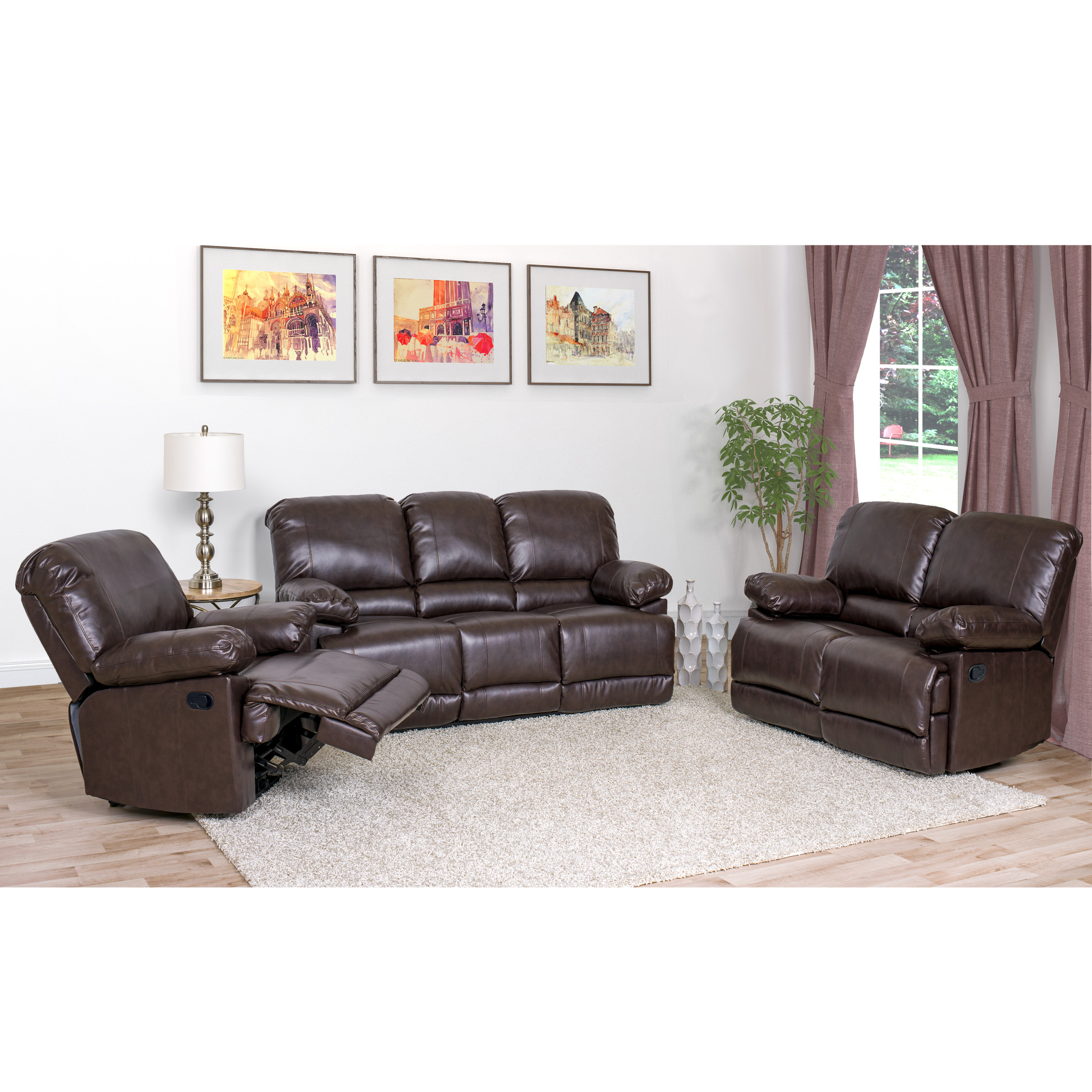 Corliving 3pc Bonded Leather Reclining Sofa Set