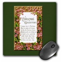 3dRose Vintage Christmas Card Christmas Greetings Pink Flowers Framing a Christmas Poem, Mouse Pad, 8 by 8 inches