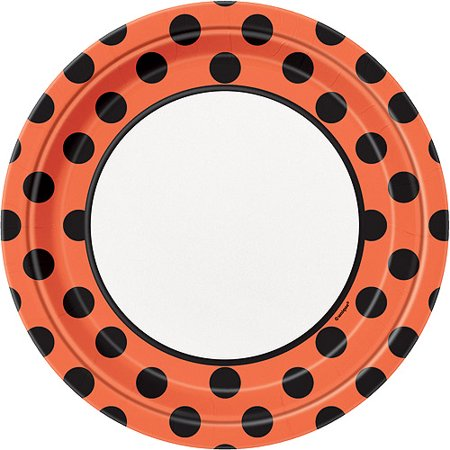 Polka Dot Halloween Paper Plates, 9 in, Orange and Black, 8ct](Halloween Mask Making Paper Plates)