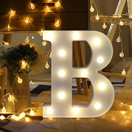 Mosunx Alphabet LED Letter Lights Light Up White Plastic Letters Standing Hanging - Standing Letter Decor
