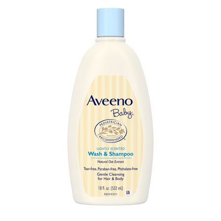 (2 pack) Aveeno Baby Gentle Wash & Shampoo with Natural Oat Extract, 18 fl. oz