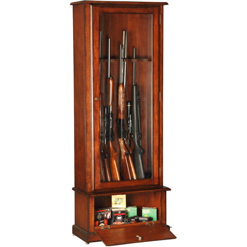 8 Gun Cabinet Glass Door Display Wood Security Storage Rack For Firearms  Classic