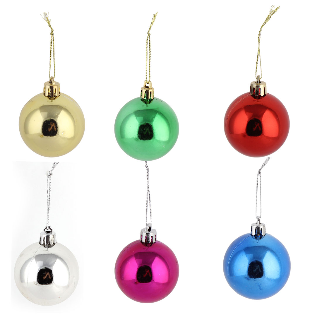 Unique Bargains Household Christmas Tree Plastic Artificial Craft Hangings Ball 6 Pcs