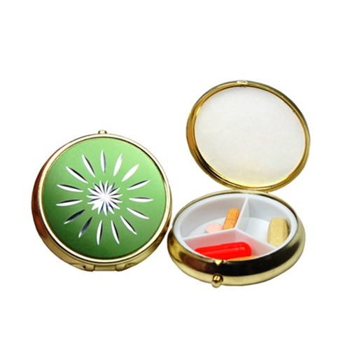 3 Compartment Round Fashion Pill Case (Green Star)