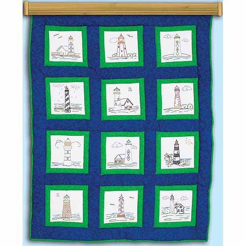 """Jack Dempsey Themed Stamped White Quilt Blocks, 9"""" x 9"""", 12pk"""