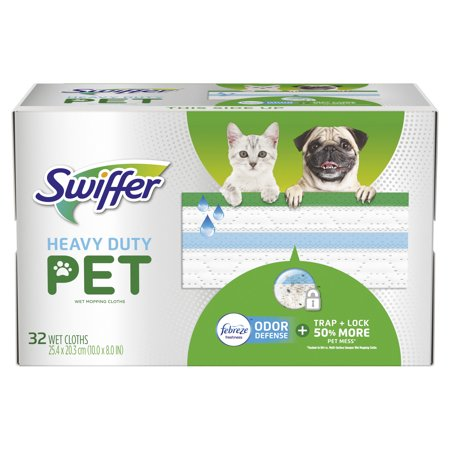 Swiffer Heavy Duty Pet, Wet Mopping Cloth Refills with Febreze Odor Defense, 32 (Wet Mopping Cloths Open Window)