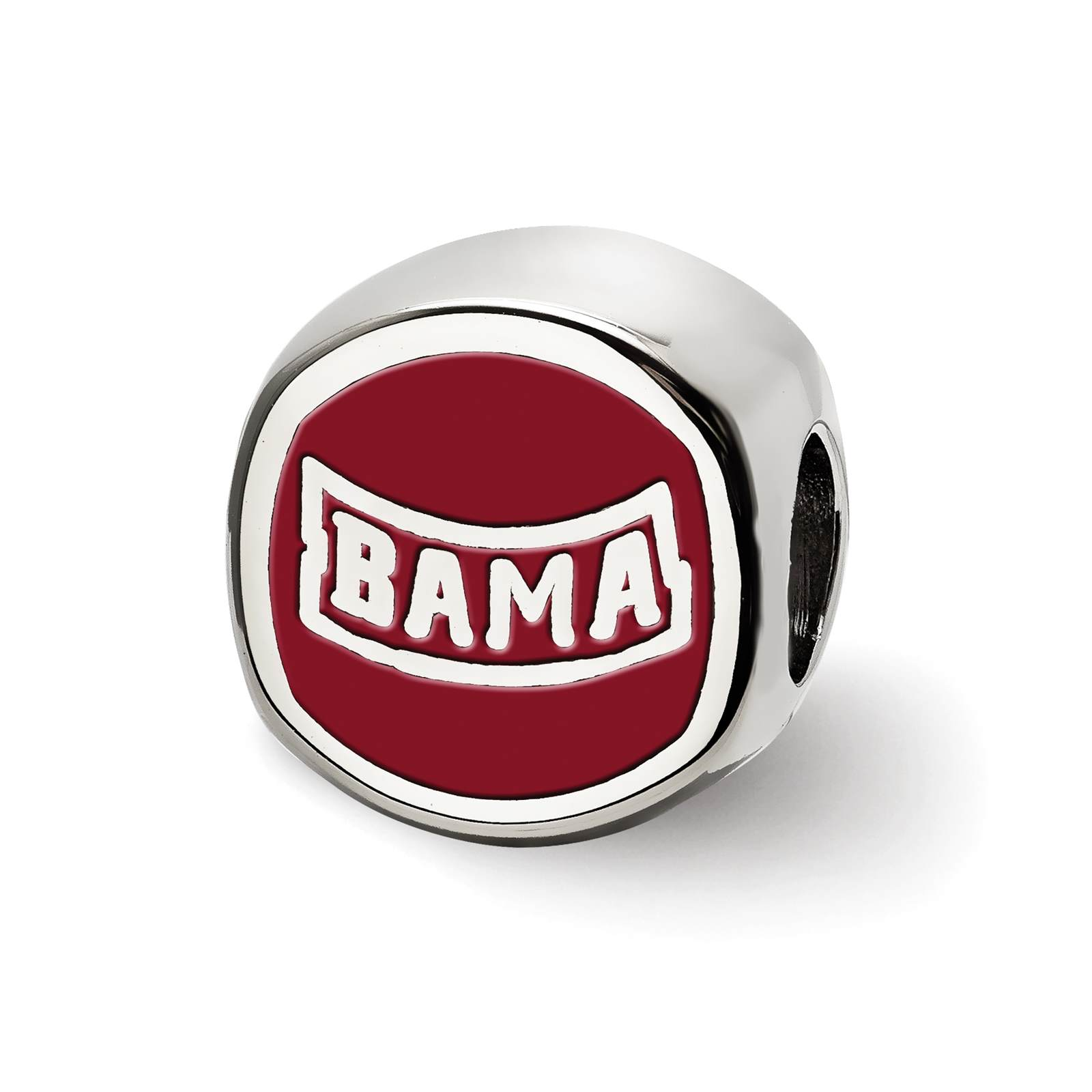 Silver Laser-cut The University of Alabama Cushion Shaped Double Logo Bead Charm