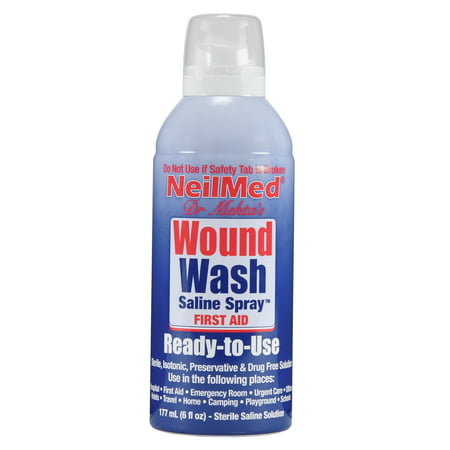 NeilMed Neil Cleanse Sterile Saline Solution Wound Wash, 6 fl oz