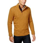 TASSO ELBA Cable Knit Mock Neck Sweater Classic Gold Medium M