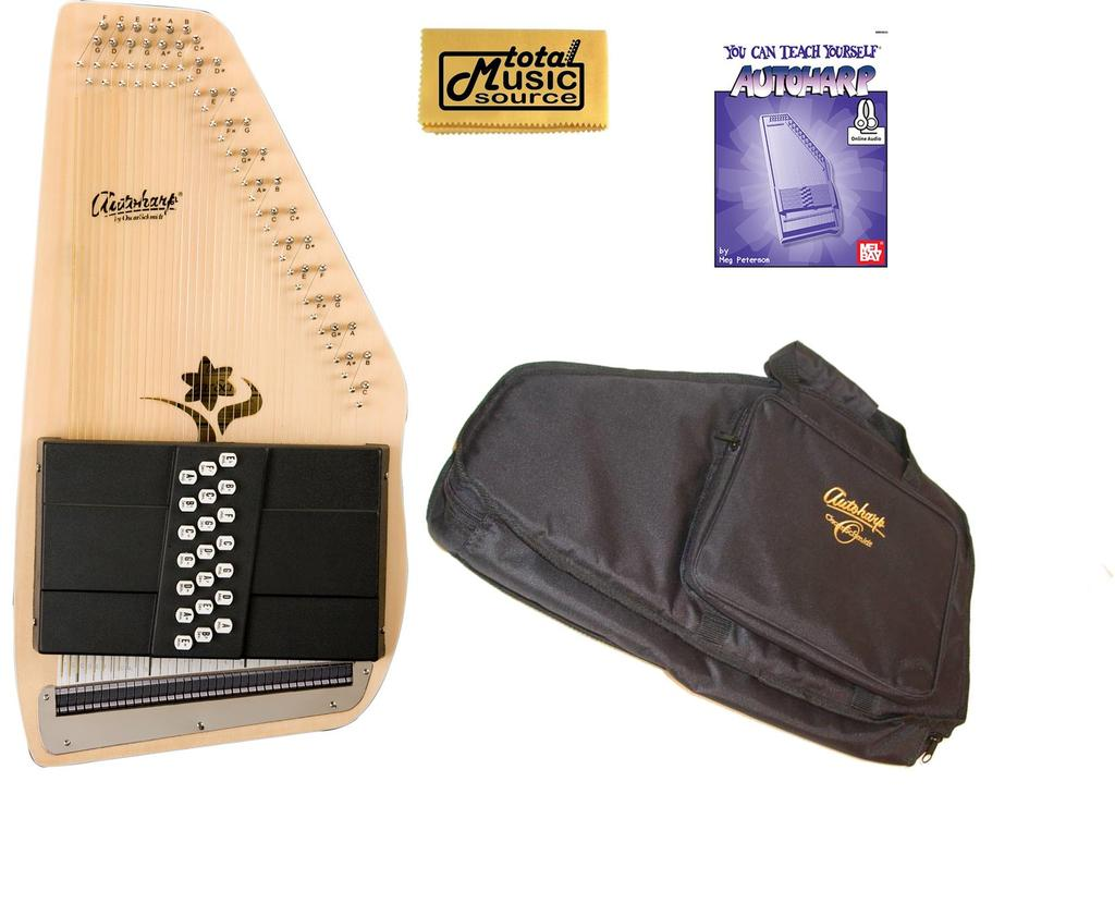 Oscar Schmidt 21 Chord Autoharp, Select Spruce, Flower Shaped Soundhole OS45CE AC445PACK by Oscar Schmidt