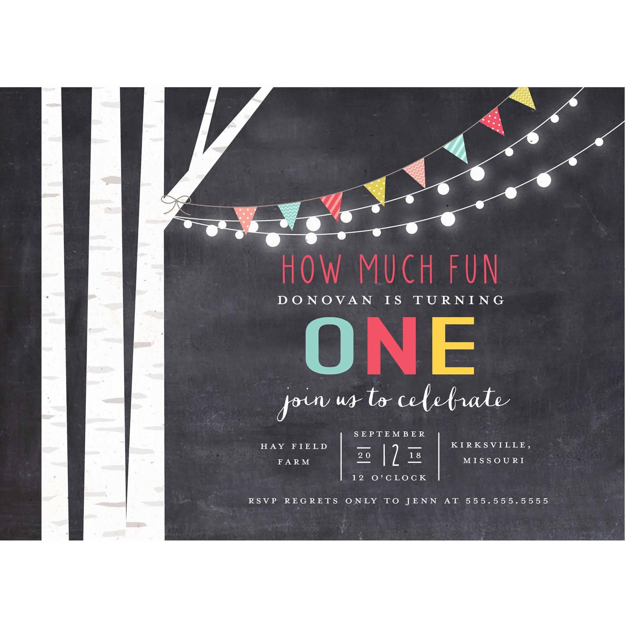 Birch Tree and Lights Standard Birthday Invitation