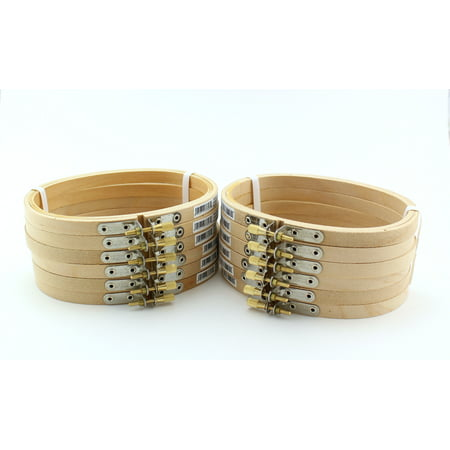 3 x 5 inch Small Oval Wooden Hand Embroidery Hoops Bulk 12 Pieces (Hand Embroidery Supplies)