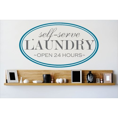 Design With Vinyl Self Serve Laundry Open 24 Hours Wall Decal