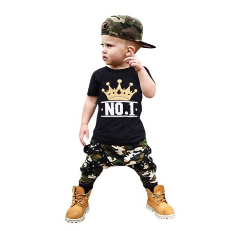 ZEFINE Baby Boys Printed Top + Camouflage Pendant Pant Sets 1-6Y