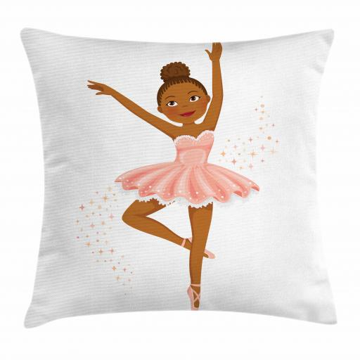 Girls Throw Pillow Cushion Cover, Ballerina Dancing Daughter Classic Performance Hobby Birthday Kids Baby Theme, Decorative Square Accent Pillow Case, 16 X 16 Inches, Rose and Brown, by Ambesonne
