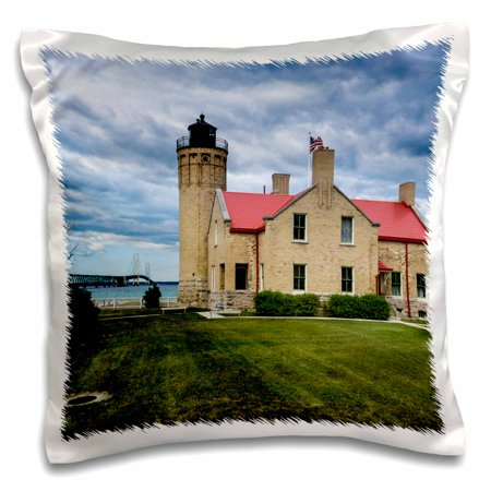 Mackinac Point Lighthouse - 3dRose Old Mackinac Point Lighthouse on two Great Lakes, Michigan, USA - Pillow Case, 16 by 16-inch