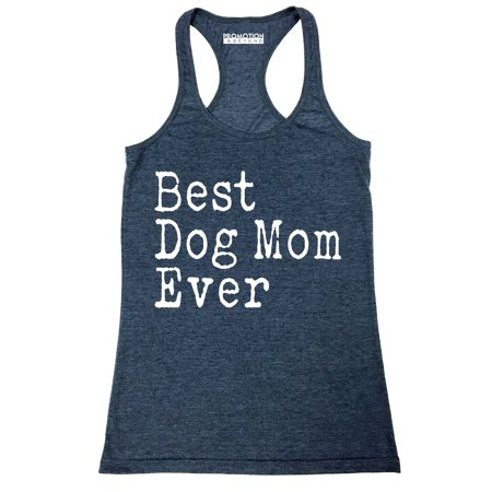 P&B Best Dog Mom Ever Women's Tank Top, Heather Navy, - Dog Tank Top