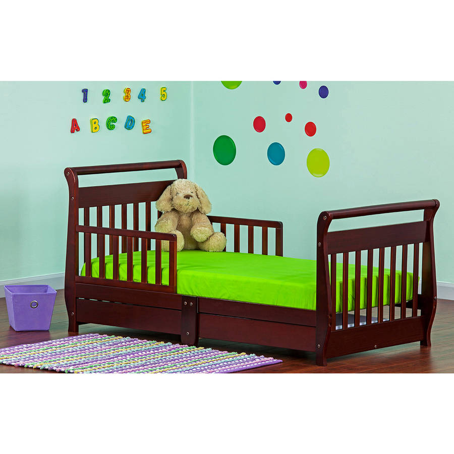 Baby bed for 2 year old - Dream On Me Sleigh Toddler Bed With Storage Drawer Cherry Walmart Com