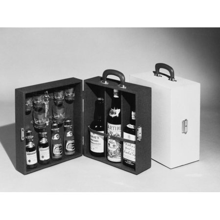 A Handy Case Containing Whisky, Martini and Gin, Mixers, a Bottle Opener and Glasses! Print Wall Art