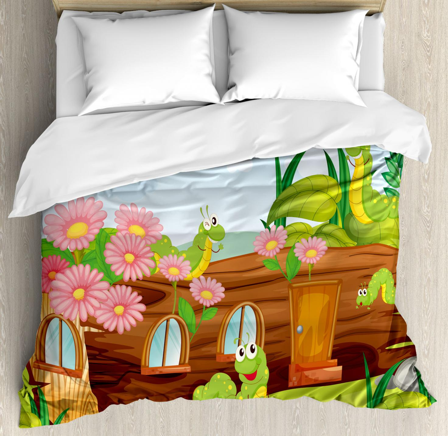 Kids Duvet Cover Set, Cute Friendly Smiling Worms in Wooden Tree House Animal Image, Decorative Bedding Set with Pillow Shams, Chocolate Sky Blue Apple Green, by Ambesonne