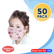 Disposable Kids Face Mask Child Size pleated 3 ply - 50 pieces Children Size Pink Girls