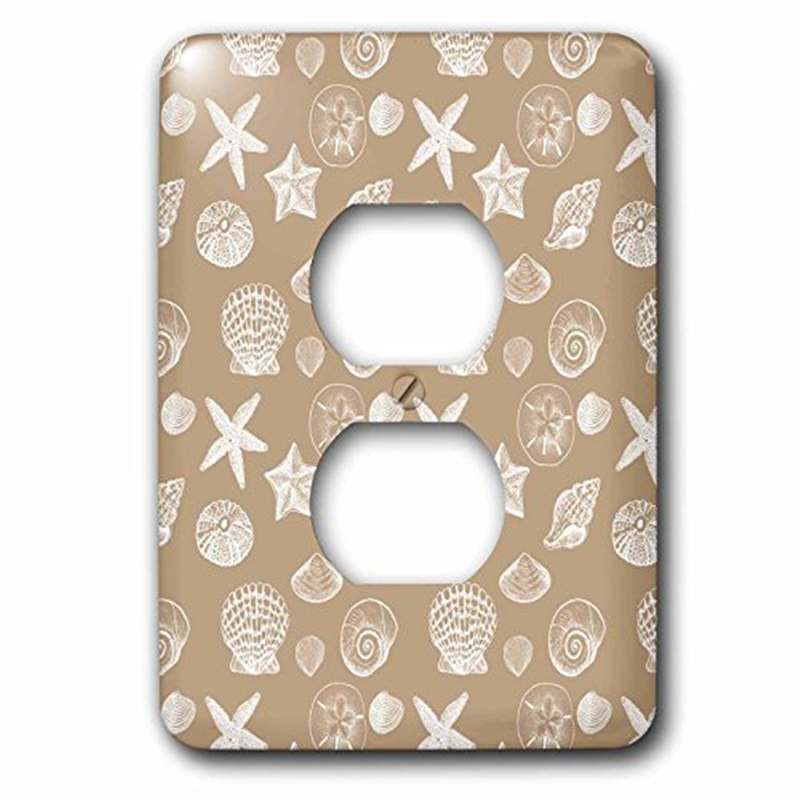 3dRose Creamy Sand and White Beach Sea Shells, 2 Plug Outlet Cover