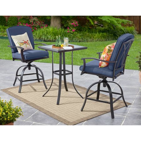 Magnificent Mainstays Belden Park 3 Piece Swivel High Bistro Set Seats 2 Caraccident5 Cool Chair Designs And Ideas Caraccident5Info