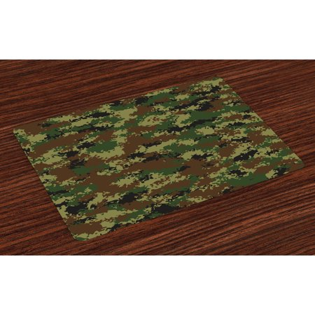 Camo Placemats Set of 4 Grunge Graphic Camouflage Summer Theme Armed Forces Uniform Inspired Dark, Washable Fabric Place Mats for Dining Room Kitchen Table Decor,Green Pale Green Brown, by