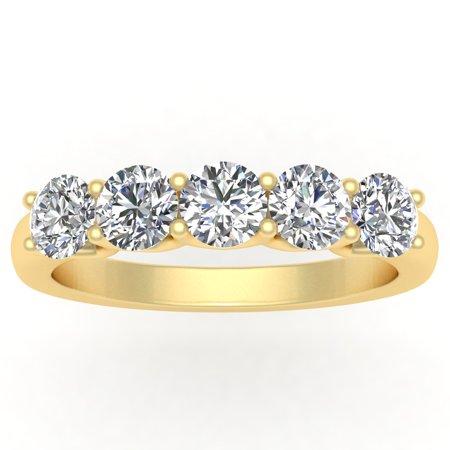 1/2ctw Diamond Five Stone Anniversary Band in 10K Yellow Gold 10k Yellow Gold Rosary Ring