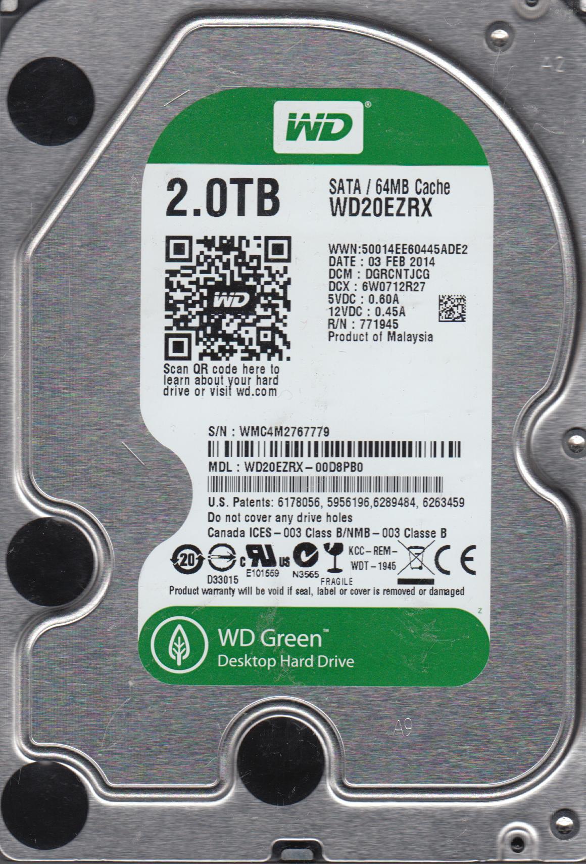 WD20EZRX-00D8PB0, DCM DGRCNTJCG, Western Digital 2TB SATA 3.5 Hard Drive by WD