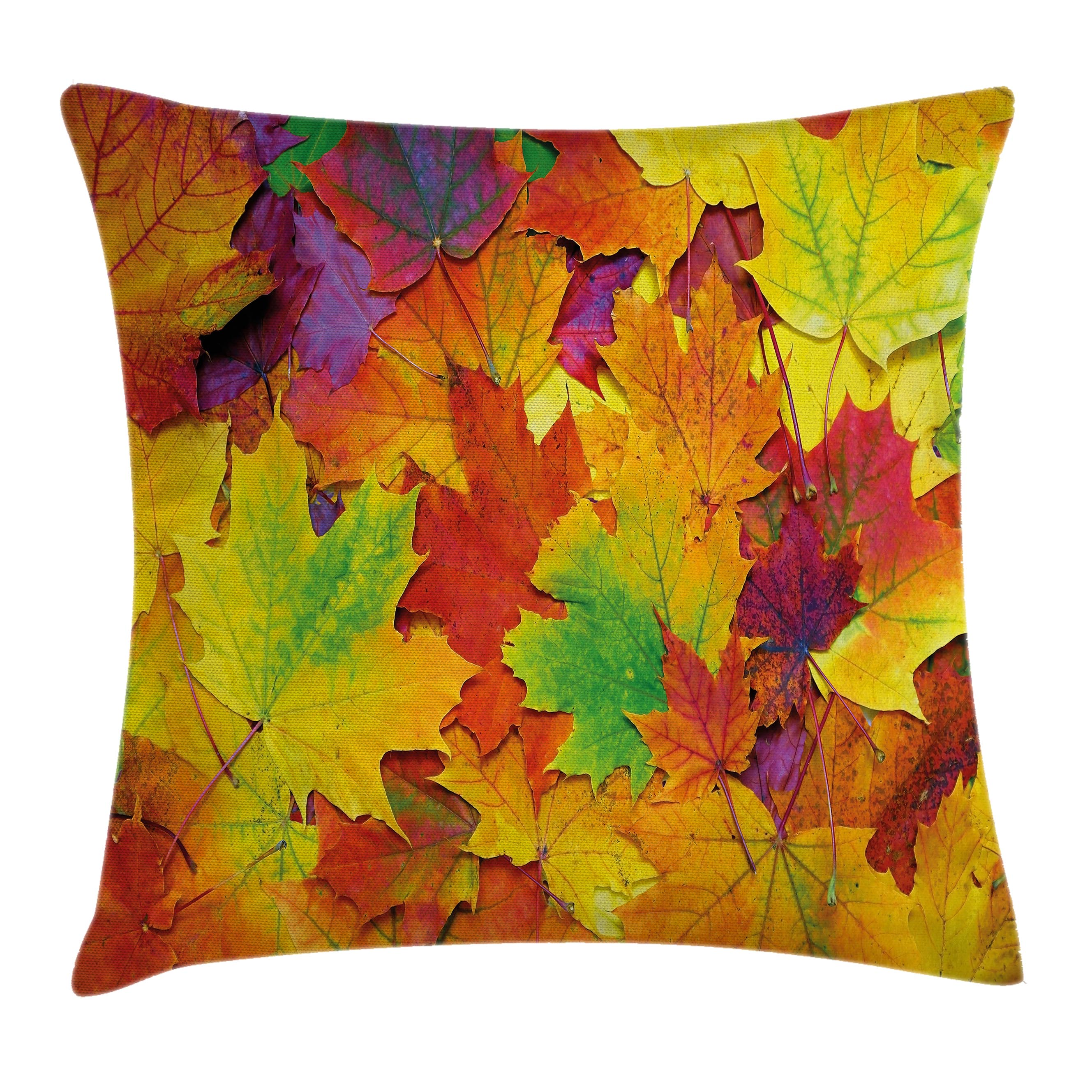 Fall Decorations Throw Pillow Cushion Cover, Different Colored Vibrant Many Autumn Maple Leaves November Scene Photo, Decorative Square Accent Pillow Case, 16 X 16 Inches, Yellow Purple, by Ambesonne