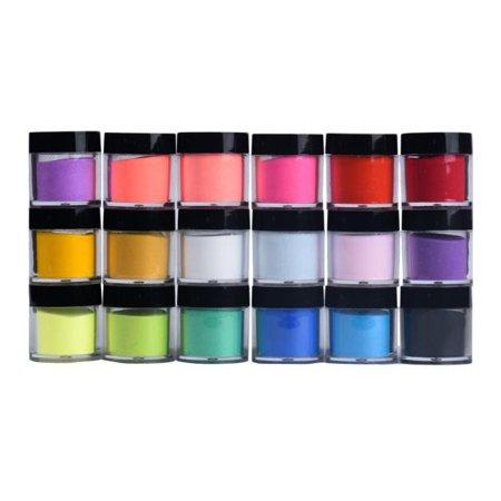 DZT1968 18 Colors Acrylic Nail Art Tips UV Gel Powder Dust Design Decoration 3D - 3d Halloween Nail Art