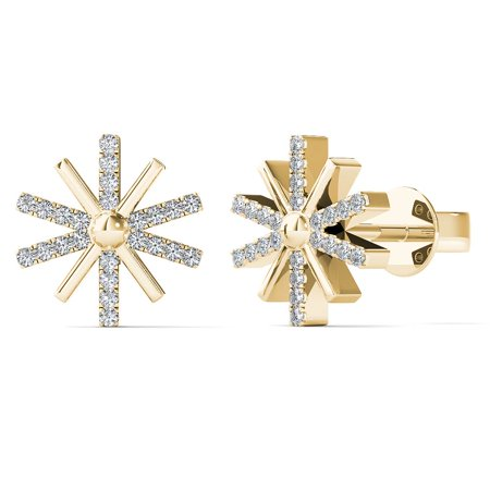 aaXia 10K Yellow Gold 1/10ct TDW Diamond Sunburst Stud Earrings