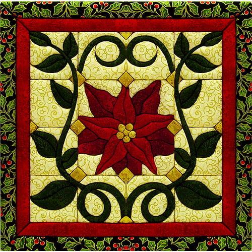 "Christmas Poinsettia Quilt Magic Kit, 12"" x 12"""