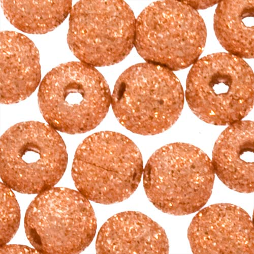Copper Plated Stardust Sparkle Round Beads 4mm (144)