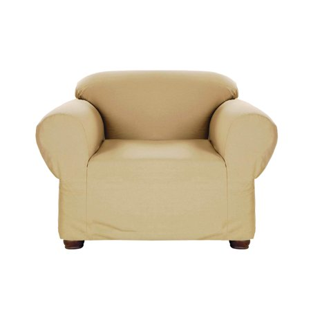Solid Stretch Jersey - Linen Store Stretch Jersey Slipcover, Soft Form Fitting, Solid Color (Chair, Tan)