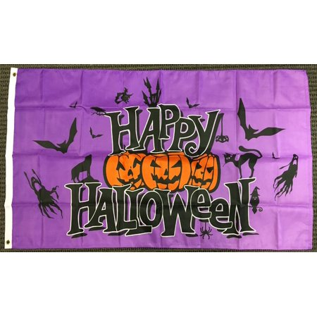 3x5 Purple Happy Halloween Flag Pumpkins Bats Ghosts Cat Outdoor Banner Pennant - Happy Halloween Casper The Ghost