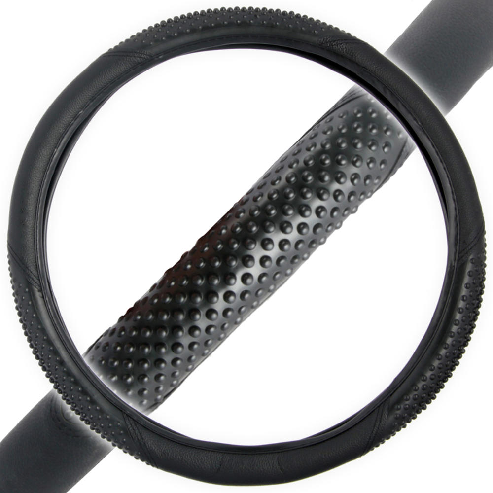 """BDK Massage Grip Car Steering Wheel Cover for Car SUV VAN - Two Tone Color, Odorless, Standard Size Fits 14.5""""-15.5"""""""