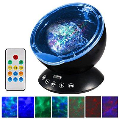 Night Light   Upgraded Led Night Lights For Kids With Music Player   Timer  Ocean Wave Projector With Remote   Easy Touch Mode Perfect For Babies Room And Bedroom 12 Led   7 Colors  Black