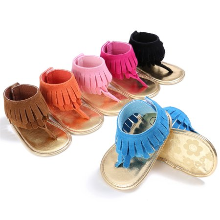 Baby Girl Kid Sandals Tassel Anti-Slip Summer Crib Shoes Soft Sole Prewalkers Princess Pink 12-18 Months (Disney Princess Sandals)