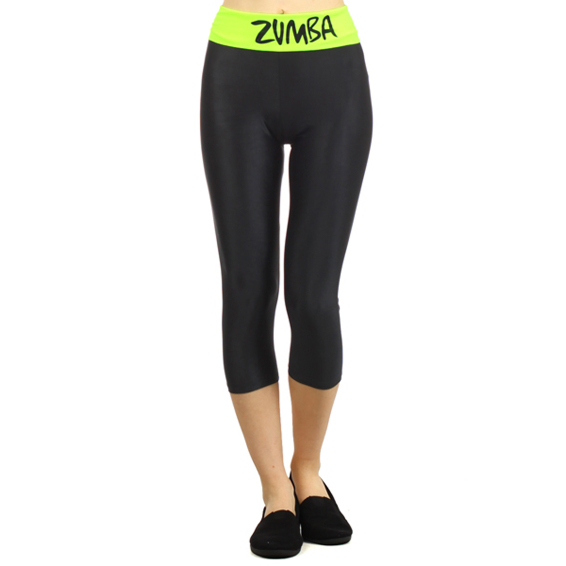 Neon Yellow and Black Zumba Dance Work Out Capri Leggings, Large by