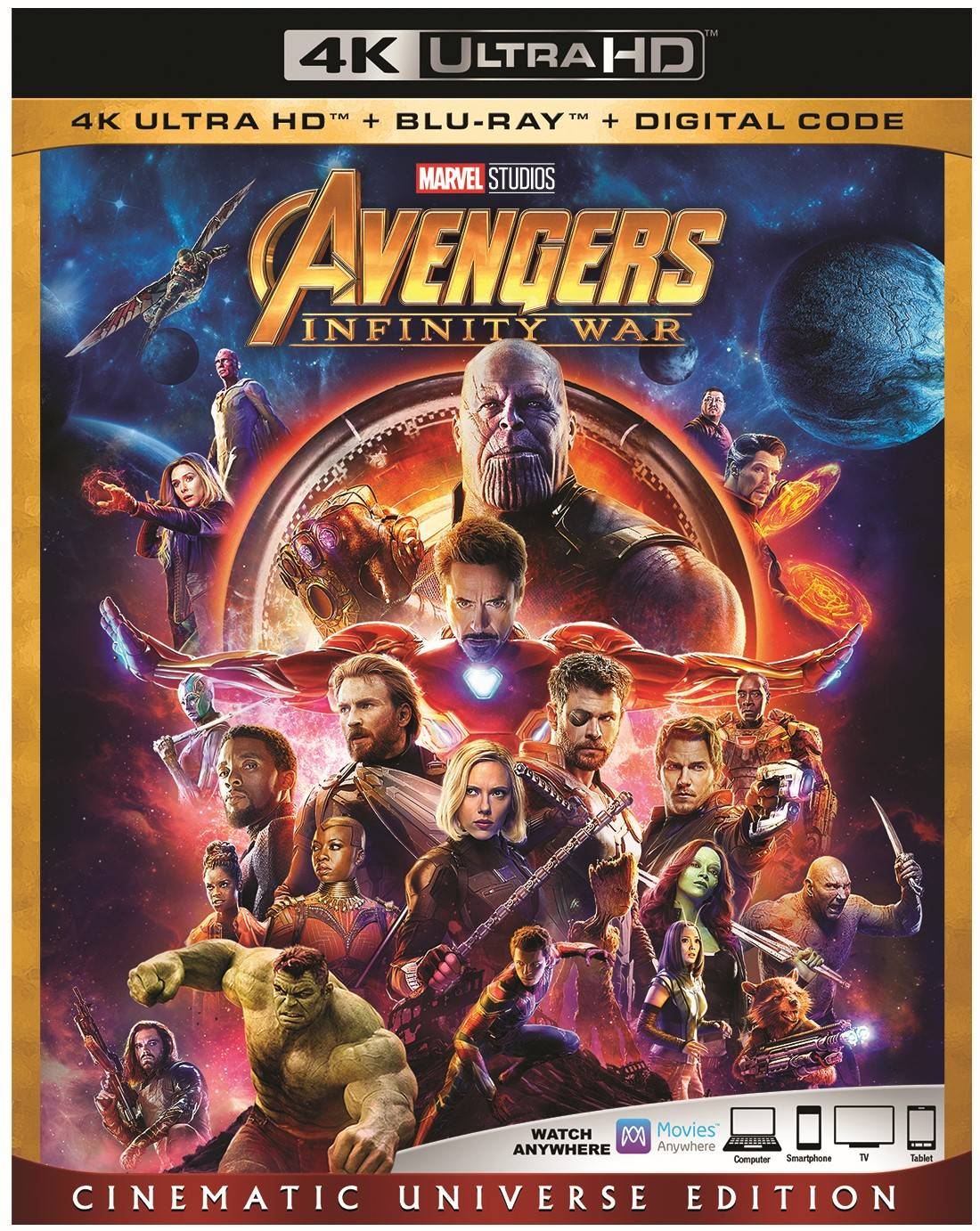 Avengers: Infinity War (Cinematic Universe Edition) (4K Ultra HD + Blu-ray + Digital Code) by
