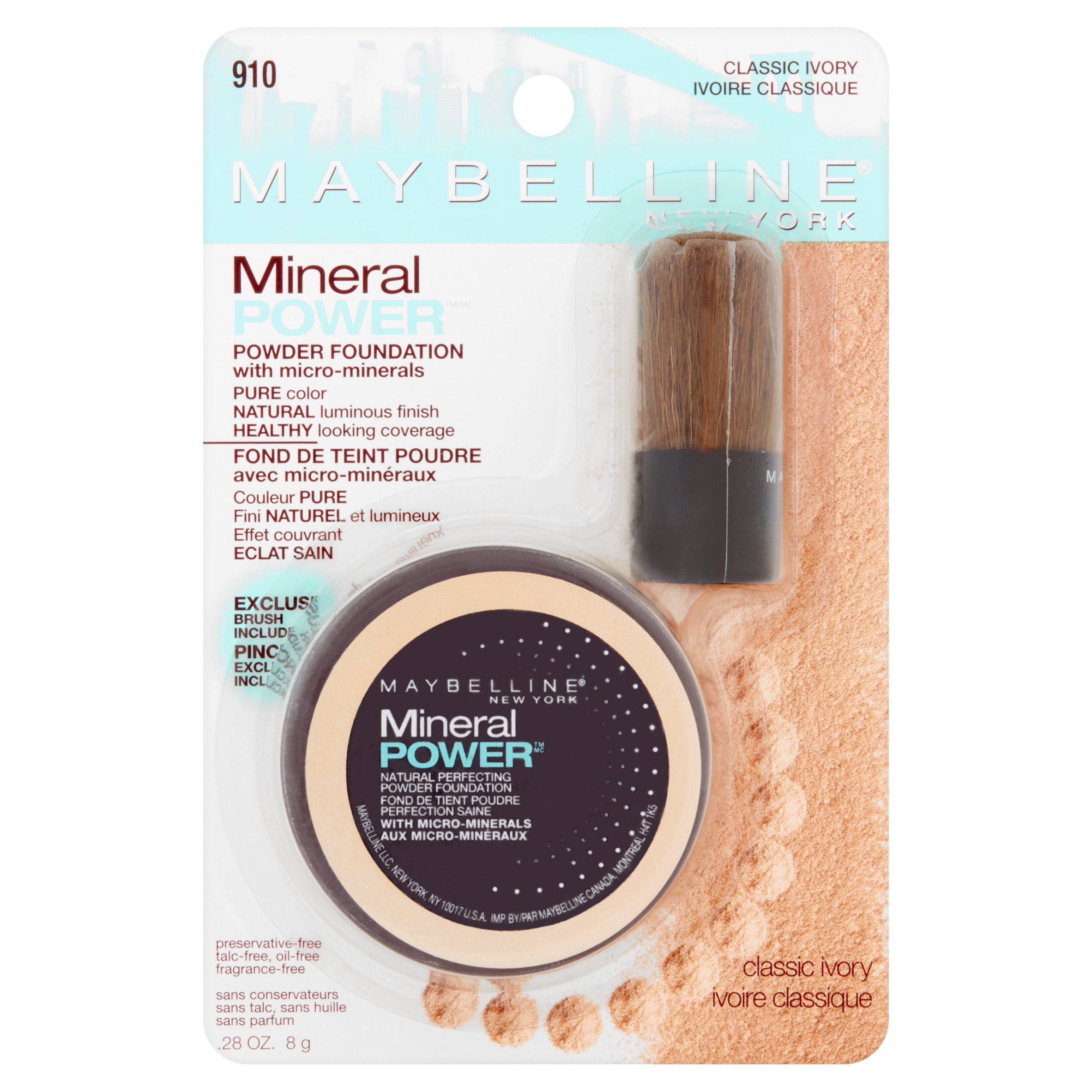 Maybelline New York Mineral Power 910 Classic Ivory Powder Foundation, .28 oz