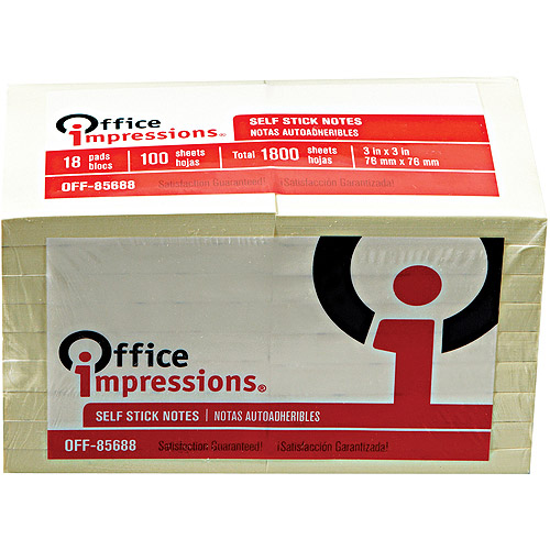 """Office Impressions Standard Self-Stick Notes, 3"""" x 3"""", Yellow, 18/100-Sheet Pads/Pack"""
